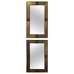 Hollywood Regency Style Moroccan Mirror in Brass and Wood Frame, a Pair