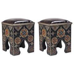 Hollywood Regency Style Moroccan Ottoman or Stool with Leather Top, a Pair
