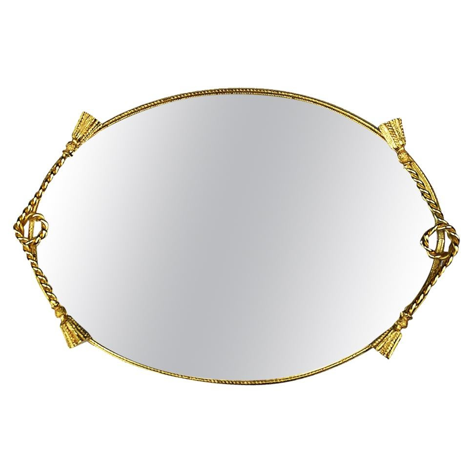Hollywood Regency Style Oval Brass Mirrored Vanity Tray with Brass Tassels
