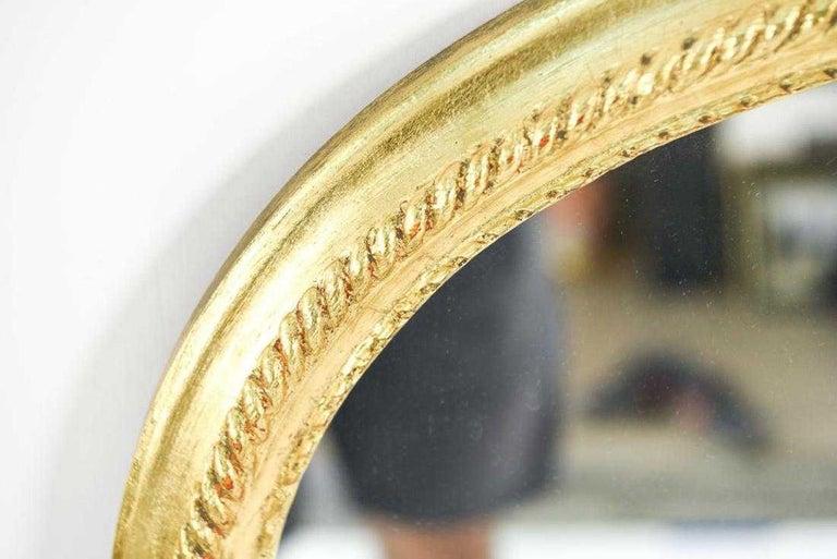 Hollywood Regency Style Oval Top Gilt Frame Mirror For Sale 1