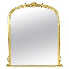 Hollywood Regency Style Oval Top Gilt Frame Mirror