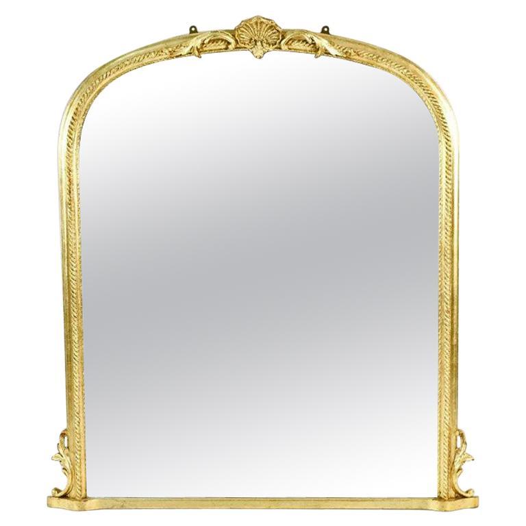 Hollywood Regency Style Oval Top Gilt Frame Mirror For Sale