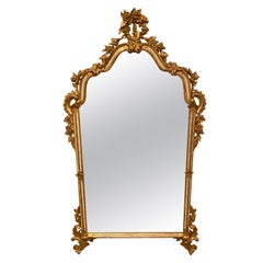 Hollywood Regency Style Painted and Parcel-Gilt Carved Wood Wall Mirror, Italy