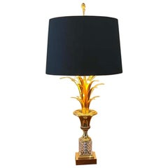 Hollywood Regency Style Palm Tree Table Lamp with Glass Foot, Maison Jansen