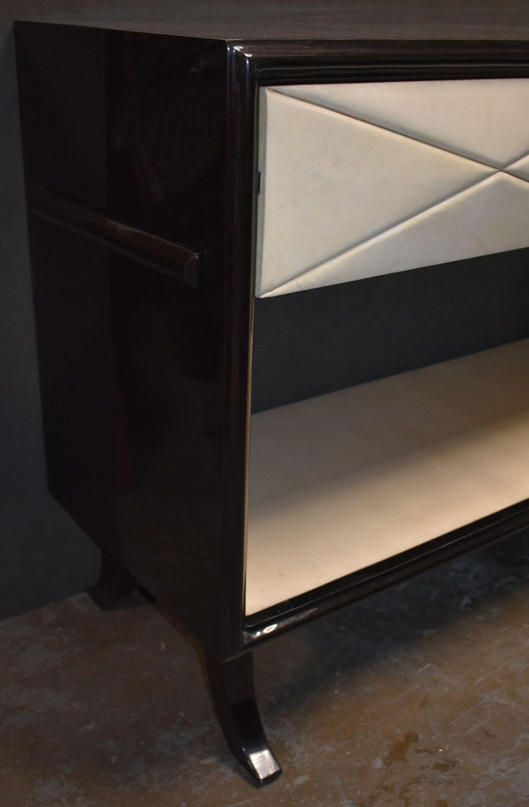 Hollywood Regency Style Parchment Credenza For Sale 1