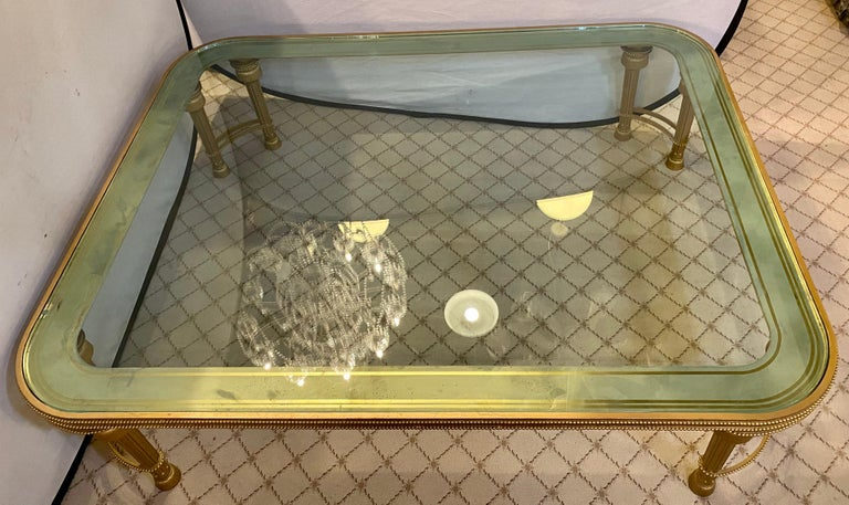 Hollywood Regency Style P.E. Guerin Coffee Table with Etched Glass Solid Bronze For Sale 8