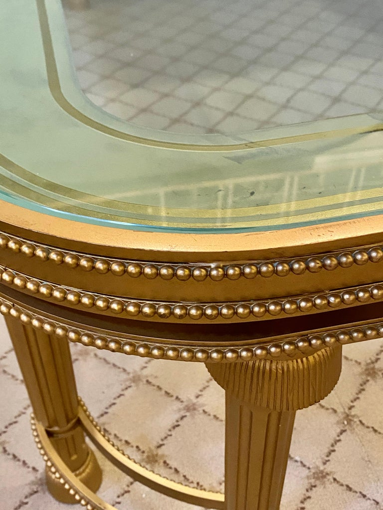 Hollywood Regency Style P.E. Guerin Coffee Table with Etched Glass Solid Bronze For Sale 11