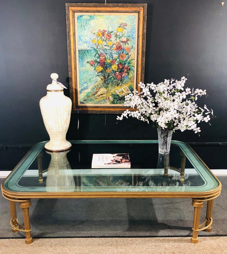 Hollywood Regency Style P.E. Guerin Coffee Table with Etched Glass Solid Bronze For Sale 13