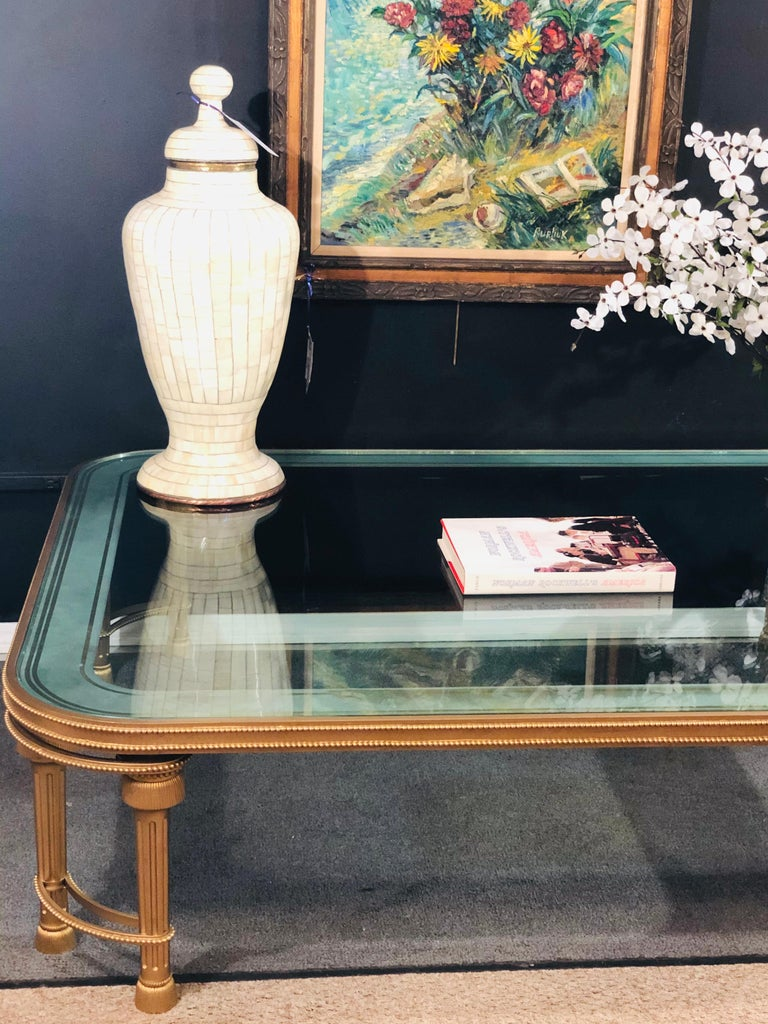 Hollywood Regency Style P.E. Guerin Coffee Table with Etched Glass Solid Bronze For Sale 14