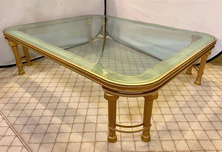 Frosted Hollywood Regency Style P.E. Guerin Coffee Table with Etched Glass Solid Bronze For Sale