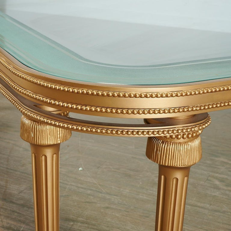 Hollywood Regency Style P.E. Guerin Coffee Table with Etched Glass Solid Bronze For Sale 1
