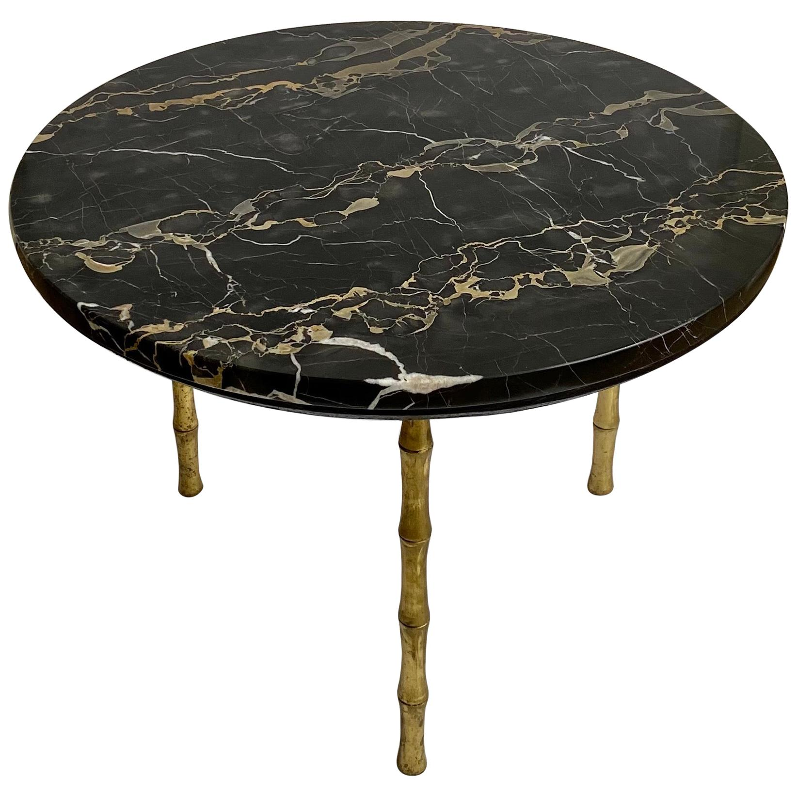 Hollywood Regency Style Round Brass Bamboo and Marble Cocktail Table, Italy