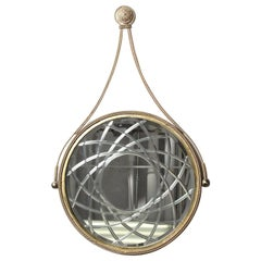 Hollywood Regency Style Round Wall Mirror In Silver and Gilt