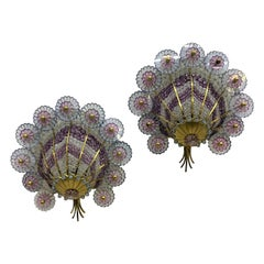 Hollywood Regency Style Sconces in Brass and Cut Glass Beads, Austria circa 1950