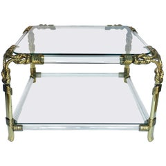 Hollywood Regency Style Sculptural Lucite and Glass Rope Coffee Table, Spain