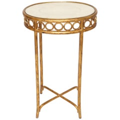 Hollywood Regency Style Side Table with Shagreen Top