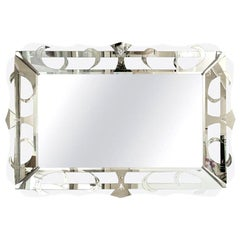 Hollywood Regency Style Silver Etched Mirror Vintage