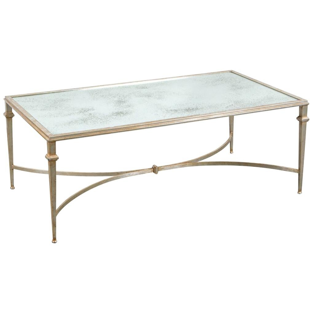 Hollywood Regency Style Silver Gilt Iron Coffee Table with Mirror Top