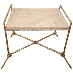 Hollywood Regency Style Silver Gilt Metal Bench or Side Table with a Marble Top