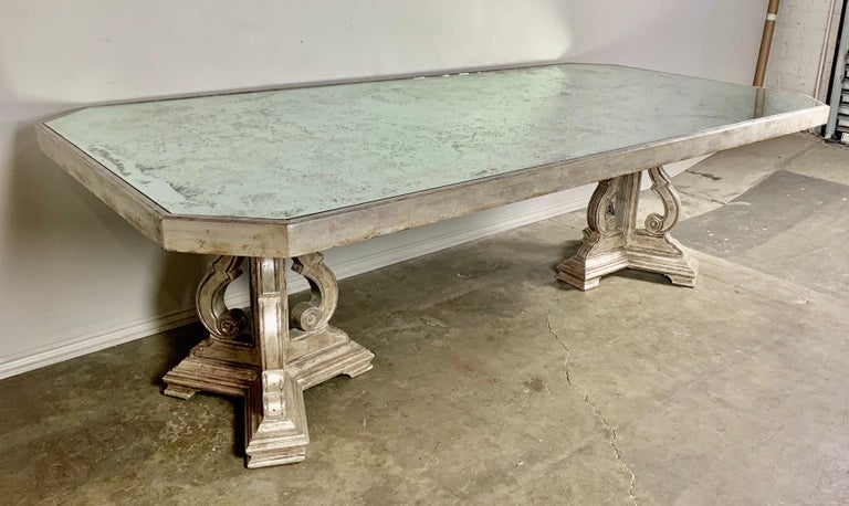 Hollywood Regency Style Silvered and Mirrored Dining Table For Sale 6