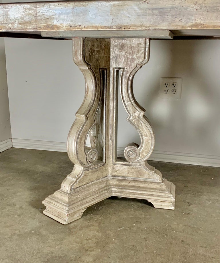 Hollywood Regency Style Silvered and Mirrored Dining Table In Good Condition For Sale In Los Angeles, CA
