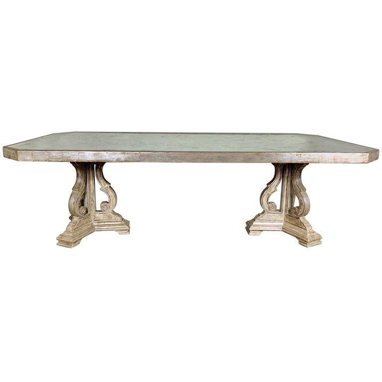 Hollywood Regency Style Silvered and Mirrored Dining Table For Sale