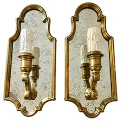Hollywood Regency Style Sussex Brass and Mirror Candle Wall Sconce Light, Pair
