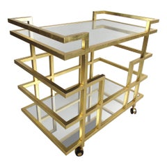 Hollywood Regency Style Two-Tiered Bar-Cart with Mirrored Tabletops