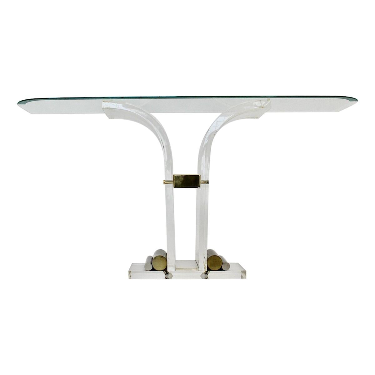 Hollywood Regency Style Vintage Console Table Lucite Brass Glass 1970s Italy