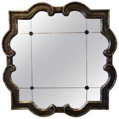 Hollywood Regency Style Wall Mirror Silver Overlay Decorated Midcentury