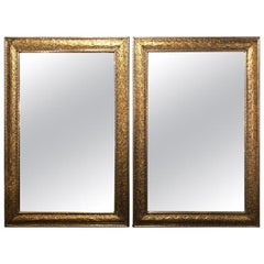 Hollywood Regency Style Wall or Console Mirror in Silver and Gold, a Pair