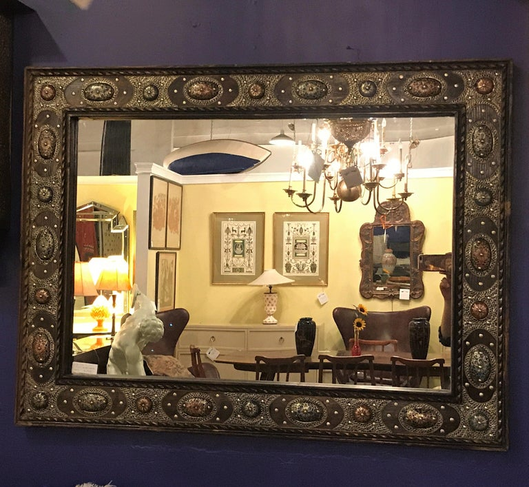 African Hollywood Regency Style with Natural Stone and Brass Inlaid Hanging Wall Mirror For Sale