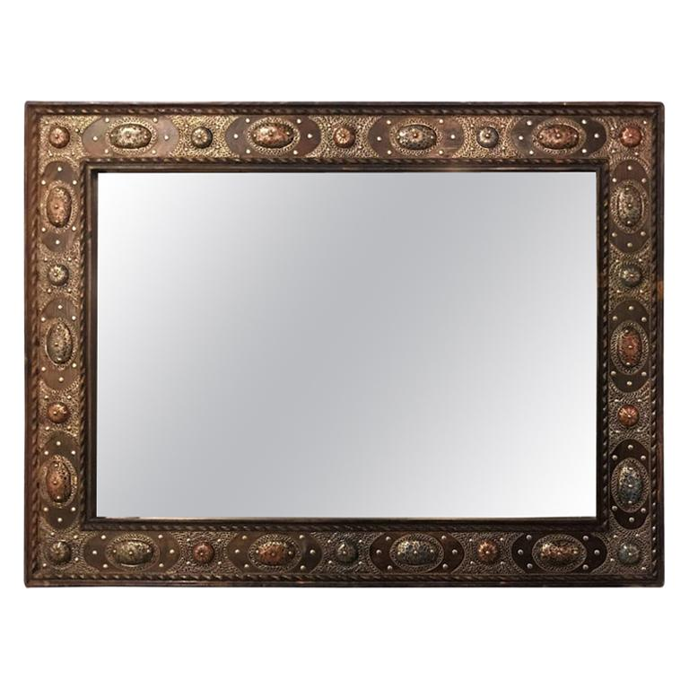 Hollywood Regency Style with Natural Stone and Brass Inlaid Hanging Wall Mirror For Sale