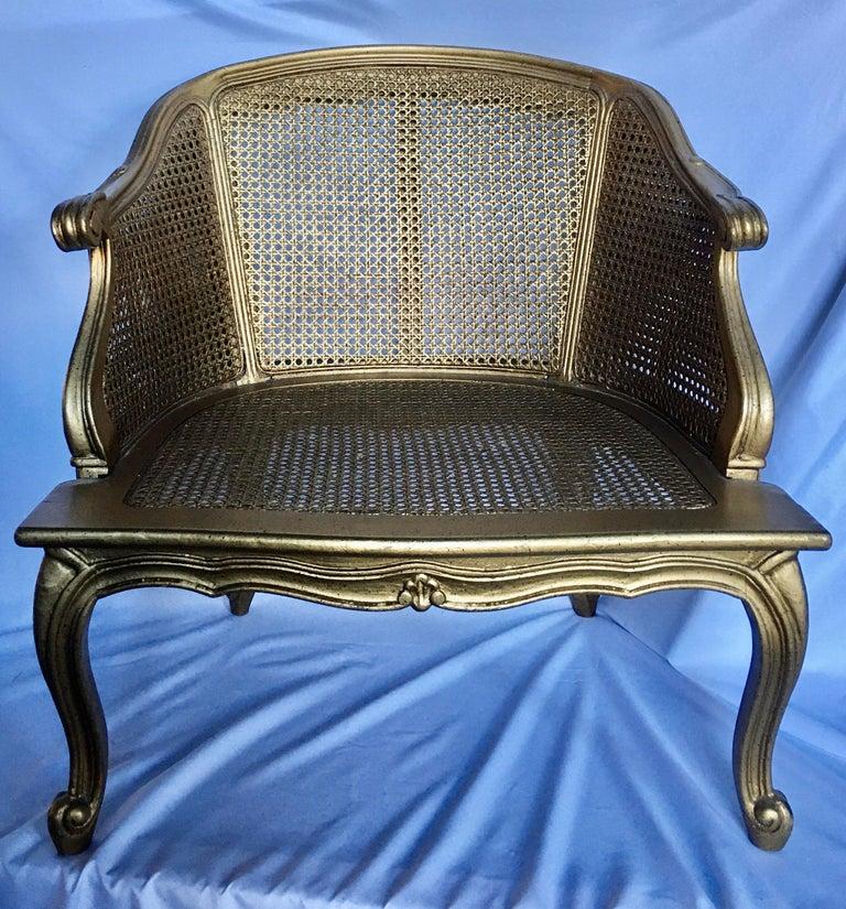 Hollywood Regency Style Woven Gilt Cane Armchair with Animal Print, Spain For Sale 4
