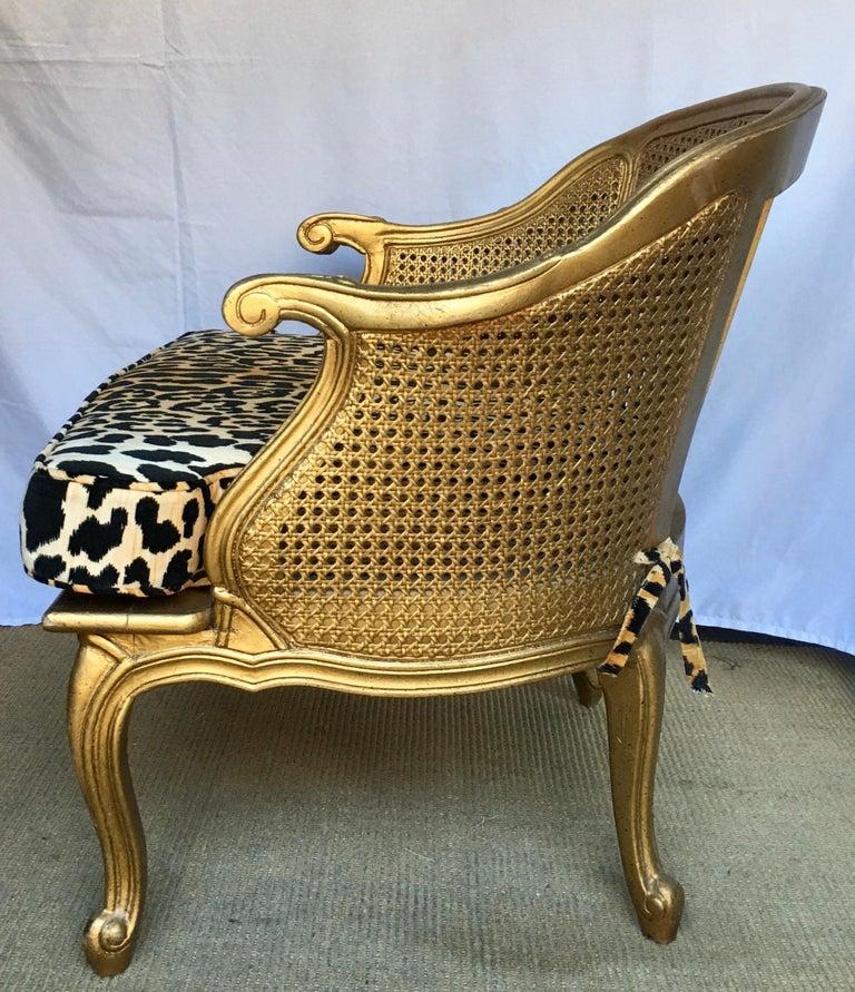 Spanish Hollywood Regency Style Woven Gilt Cane Armchair with Animal Print, Spain For Sale