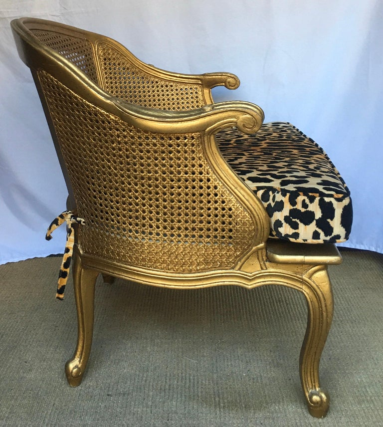 Hollywood Regency Style Woven Gilt Cane Armchair with Animal Print, Spain In Good Condition For Sale In Lambertville, NJ
