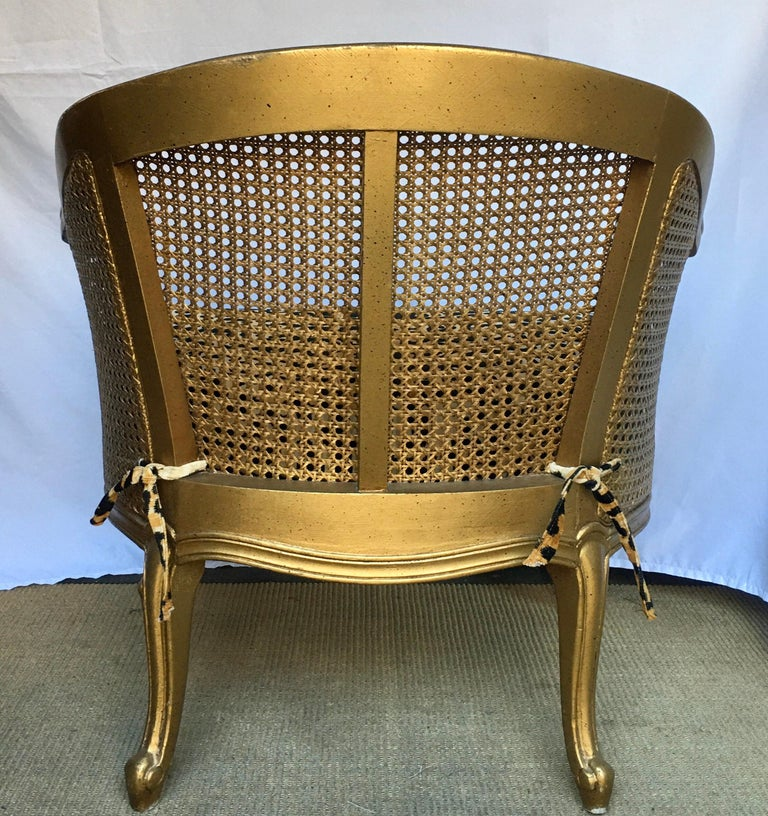 20th Century Hollywood Regency Style Woven Gilt Cane Armchair with Animal Print, Spain For Sale
