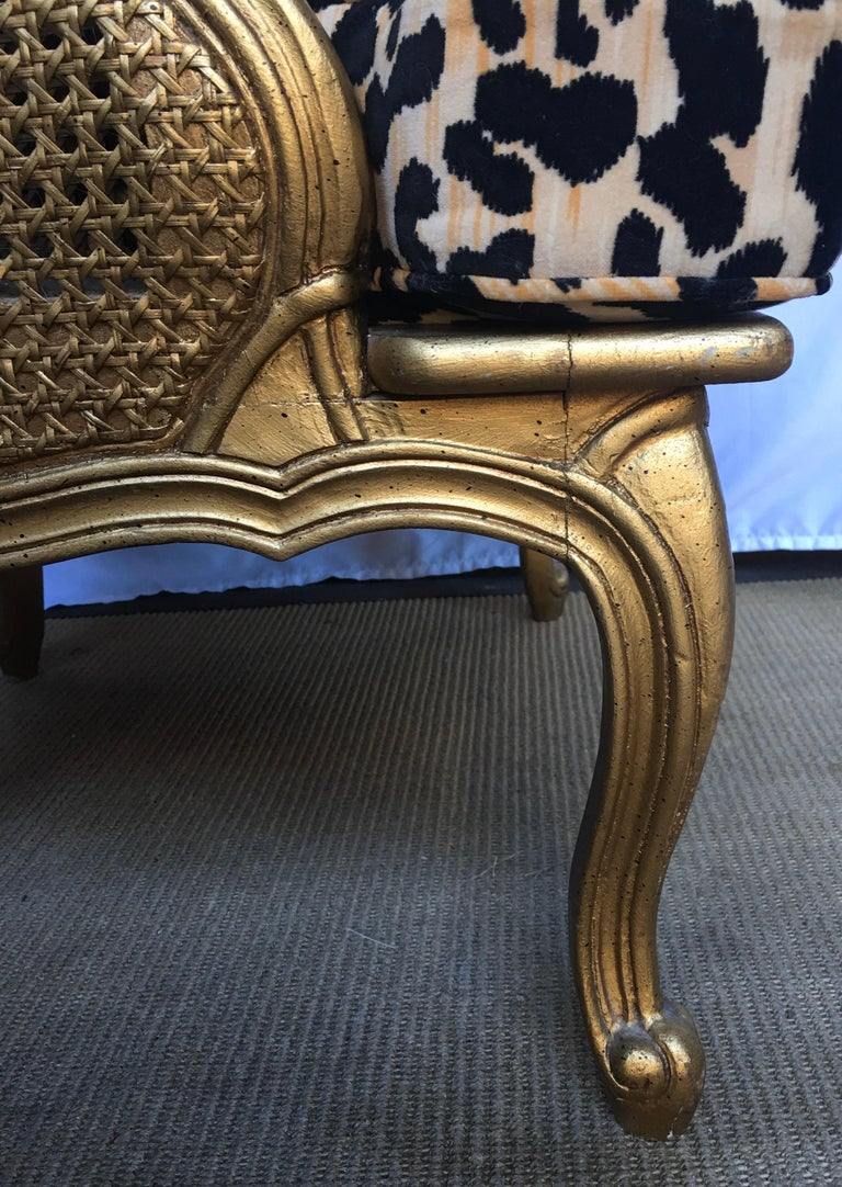 Hollywood Regency Style Woven Gilt Cane Armchair with Animal Print, Spain For Sale 2