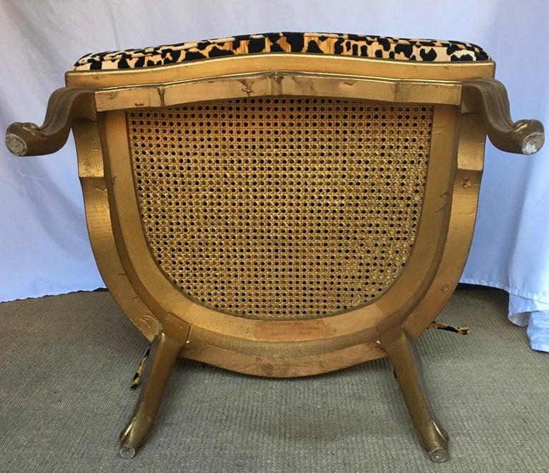 Hollywood Regency Style Woven Gilt Cane Armchair with Animal Print, Spain For Sale 3