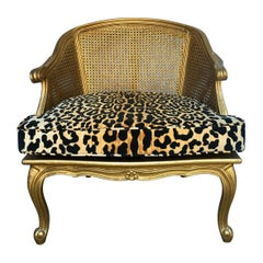 Hollywood Regency Style Woven Gilt Cane Armchair with Animal Print, Spain