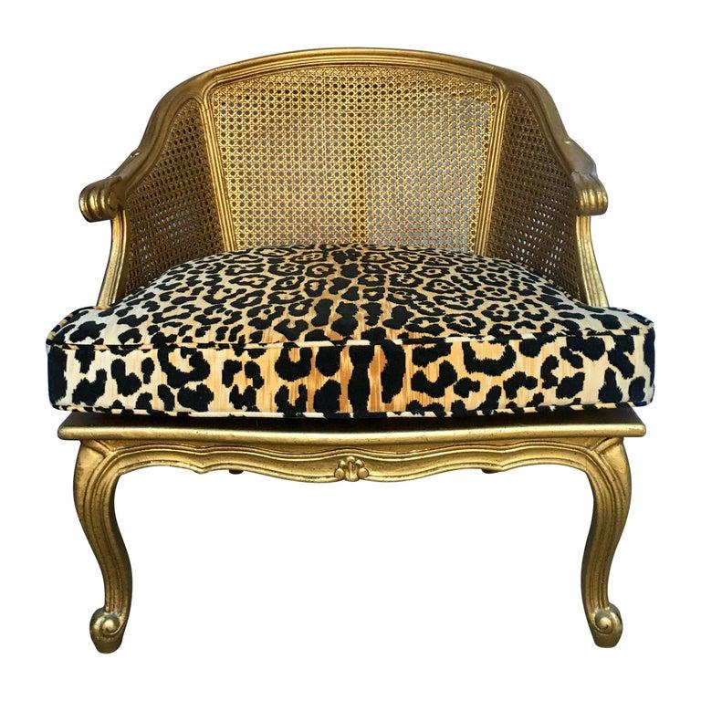 Hollywood Regency Style Woven Gilt Cane Armchair with Animal Print, Spain For Sale