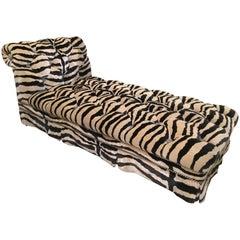 Hollywood Regency Style Zebra Print Velvet Chaise