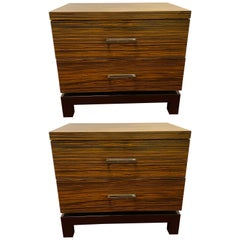 Hollywood Regency Style Zebra Wood End Tables / Nightstands or Chests, a Pair