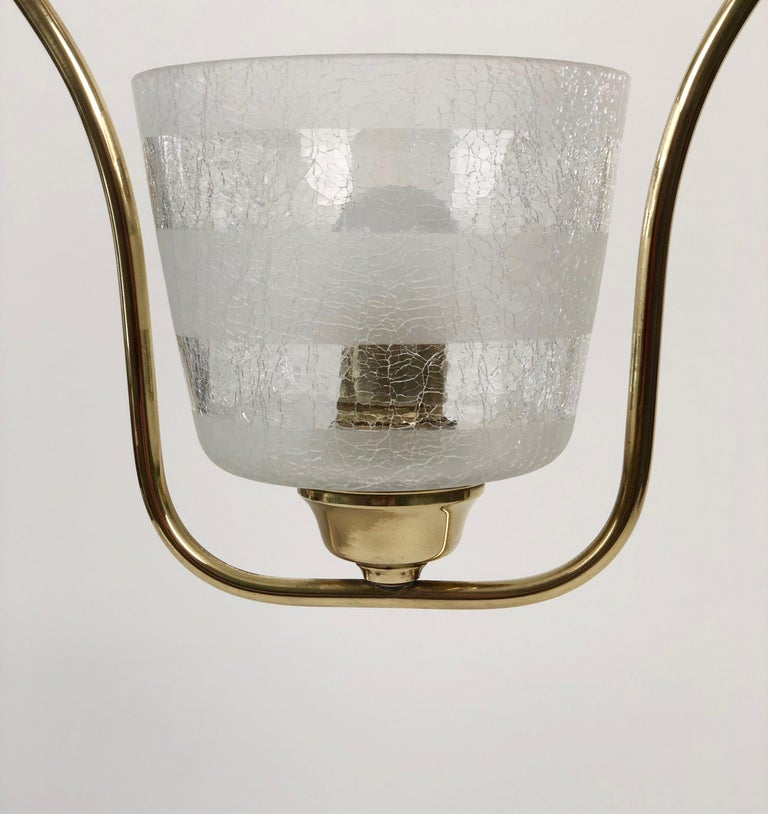 Hollywood Regency Styled Pendant Lamp in Brass and Glass, from Austria, 1950s For Sale 4