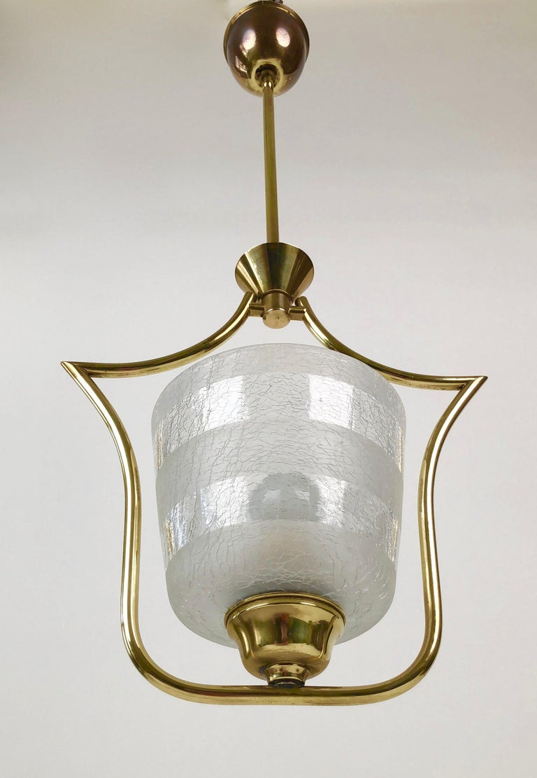 Other Hollywood Regency Styled Pendant Lamp in Brass and Glass, from Austria, 1950s For Sale