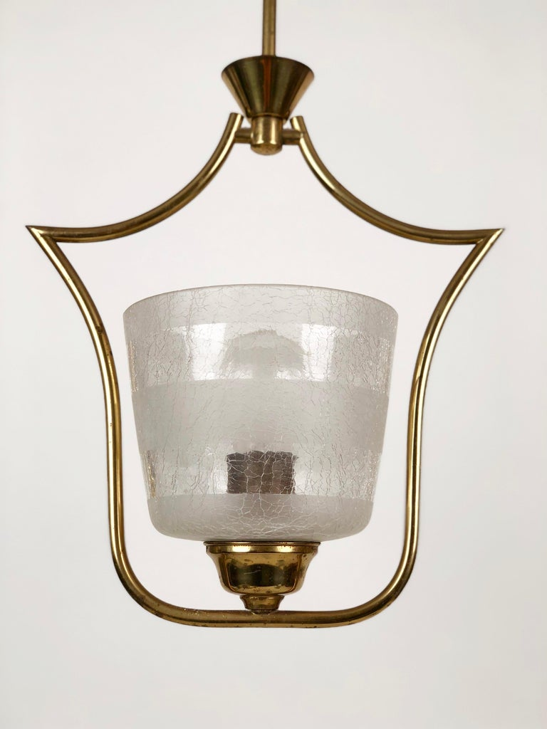 Hollywood Regency Styled Pendant Lamp in Brass and Glass, from Austria, 1950s In Good Condition For Sale In Vienna, Austria