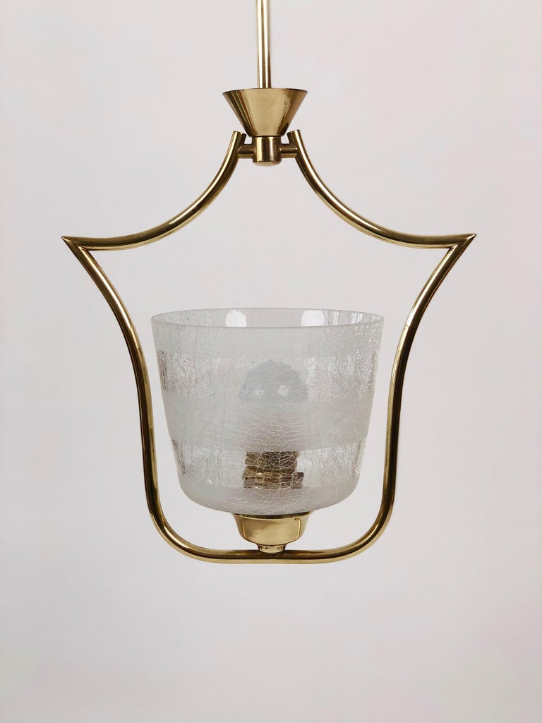 20th Century Hollywood Regency Styled Pendant Lamp in Brass and Glass, from Austria, 1950s For Sale