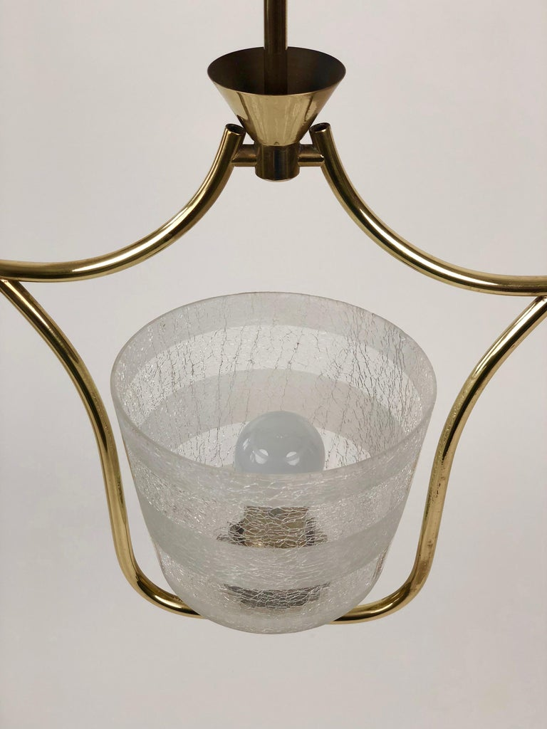 Hollywood Regency Styled Pendant Lamp in Brass and Glass, from Austria, 1950s For Sale 1