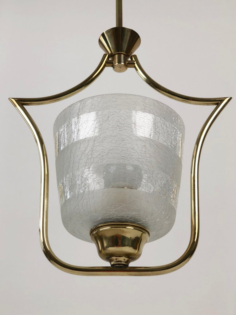 Hollywood Regency Styled Pendant Lamp in Brass and Glass, from Austria, 1950s For Sale 3