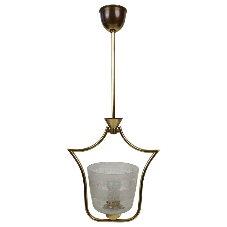 Hollywood Regency Styled Pendant Lamp in Brass and Glass, from Austria, 1950s For Sale